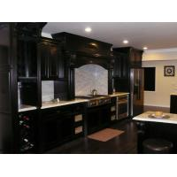 Best European Dark Black Solid Wood Kitchen Cabinets With White Marble Countertops wholesale