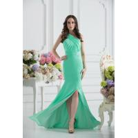 Quality Gorgeous Green One Shoulder Mermaid Floor Length Chiffon Evening party Dress With Beads for sale