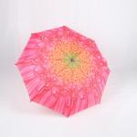 Quality Custom Manual Open Umbrella , Pink Flower Print 3 Fold Umbrella For Women for sale