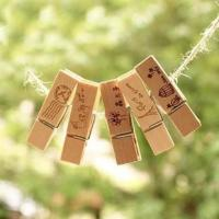 China 45mm photo pegs wood craft pegs with 2 sides laser engraved logo on sale