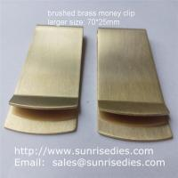 China Satin brushed brass Money Clip with good tension, large sized brass money clip wallets on sale