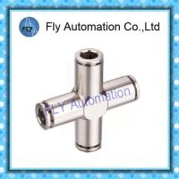 Quality Four Way Nickel-Plated Copper Push  - In Pneumatic Brass Tube Fittings PZA Series for sale