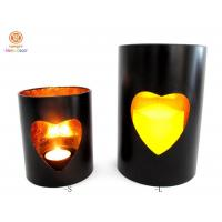 Best Small / large Stick Gold Foil inside pillar candle holder with heart hollow out wholesale