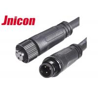 Quality Black Wire Waterproof Male Female Connector 10A / 300V 3 Pin Metal Screw Type for sale