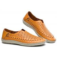 Breathable Punched Holes Mens Casual Summer Shoes , Khaki Leather Business Shoes