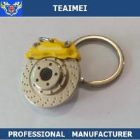 Best Metal Custom Yellow Brake Disc Logo Car Keychains With Chrome Plated Finish wholesale