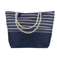 Quality Cotton Canvas Blue And White Striped Beach Bag Ladies Simple Casual Style for sale