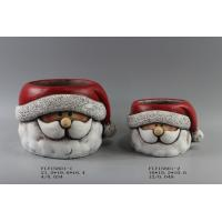 China Table Top Ceramic Christmas Gift , Ceramic Christmas Candle Holders With Santa Claus In Hat on sale
