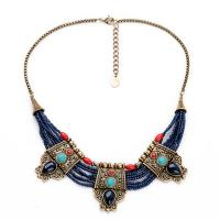 China New fashion design stone pendant tribal beads necklace latest design beads necklace on sale