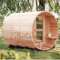 Quality 2100*2100Mm Red Cedar Barrel Sauna Room , Outdoor Steam Sauna Heater Guard for sale