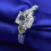 Buy cheap Customized Moissanite Diamond Rings Emerald Cutting 2cts With White Color from wholesalers