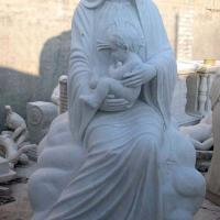 Stone Church Figure Sculpture Life Size White Marble Virgin Mary Statue for