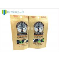 Best OEM Brown Kraft Paper Stand Up Pouch Packaging Roasted Cashews , Flat bottom wholesale