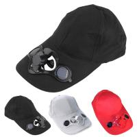 Buy cheap Long Brim Cotton Solar Powered Fan Hat Solar Panel on The Front Baseball cap from wholesalers