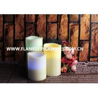 Best Ivory Wax Melted Edge Unscented LED Flameless Candles / Color Changing Pillar Candle wholesale