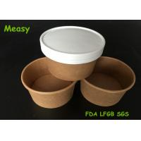 Quality Insulated 8oz Kraft Thick Paper Soup Bowl With Non vented Paper Lid for sale