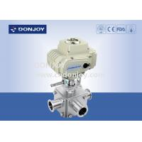 China Electric actuator three-way ball valve with T type and full port on sale