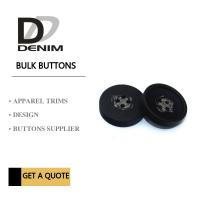 Quality Decorative Polyester Button 4 Holes Black Coat Buttons Garment Accessories for sale