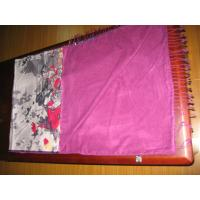 China 175CM Pink And Grey 100% Silk Pashmina Scarf , Floral Printed on sale