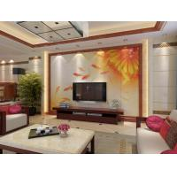 Quality Eco Friendly 3D Leather Wall Panels Chrysanthemum Pond Fish Imitation Leather for sale