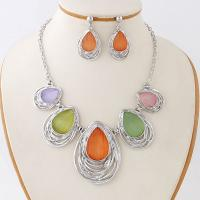Quality Fashion oval shaped beautiful unique bridal jewelry sets rhinestone beads necklace for sale