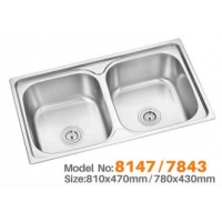 Quality 78*43CM plating double bowl stainless steel kitchen sink for sale