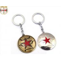China Round Metal Keyrings With Five Pointed Star Design , Zinc Alloy Logo Keychains on sale