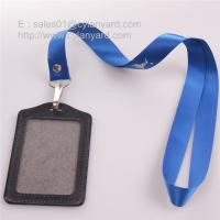 China Rivet nylon strap with leather card badge, plain nylon lanyards on sale