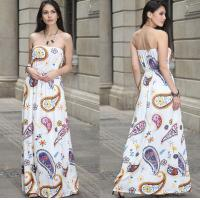 Quality European-style fashion strapless printed long billowing skirt maxi sexy dress for sale