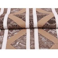 Buy cheap 100% Nylon Stretch Lace Fabric Khaki Color , Cutting Lace Fabric For Uniform / from wholesalers