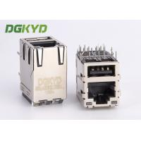 Quality High Performance Stacked USB RJ45 connector combo, 1000Mb, with LEDs for sale