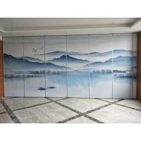 Quality Collapsing Landscape Painting Leather Wooden Movable Partition Walls For Hotel for sale