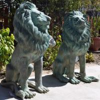 Quality Antique Garden Sculpture Life Size Green Bronze Sitting Lion Pair Large Statue for sale