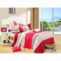 Quality Reactive printed bedding set/floral bedding set/strip bedding set for sale