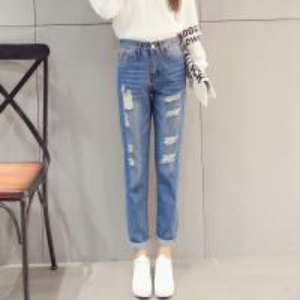 Vintage Classic Ladies Straight Leg Jeans , White / Light Blue Knee Hole Jeans