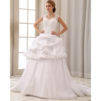 Quality Romantic Lace Cap Sleeve Halter Neck Wedding Dresses With Heart Shaped Bra for sale