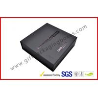 China Customized Plastic Paper Covered Rigid Gift Boxes with Black LOGO Hot-stamping , High Density Foam on sale