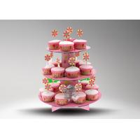 Best 3 Tier Cardboard Cup Cake Stand / Colorful Cake Stand Promotional For Cake Chain Store wholesale