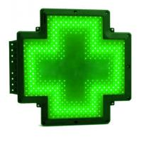 Quality P20 Advertising LED Pharmacy Cross Signs Plastic Green Frame Drustore Shop Sign for sale