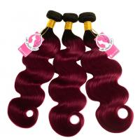 China Body Wave 1B 99j Burgundy Color Ombre Hair Weave Bundles Pre Colored Hair on sale