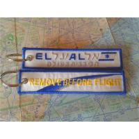 Best EL AL Remove Before Flight Keyring Custom Embroidery Keychain With Metal Ring wholesale