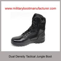 China Wholesale China Military Tactical Combat Boot With PU Rubber Dual Density Full Grain Leather 1400D Nylon Size Zipper on sale