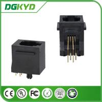 Quality 180 degree Tab Up Female RJ11 Jack Without Shield , Housing Black 4p4c Jack for sale