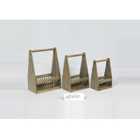 China 3 Sets Hand Made Bamboo Vintage Wooden Crate Basket on sale