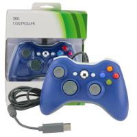 Quality Ergonomic Xbox 360 Gamepad Controller , Blue Wired Xbox 360 Controller For PC for sale