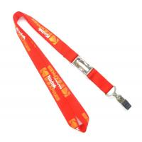 Schools Red Metal Clip Nylon Neck Strap Lanyards For Id Cards / Keys