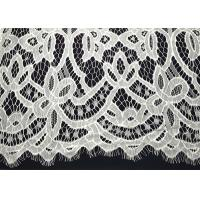 China White Striped Nylon Off Scalloped Both Edege Eyelash White Lace Trim Fabric For Wedding Gown on sale