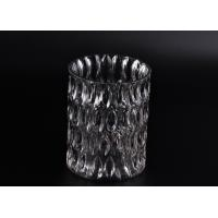 China Crystal Round Sunken Surface Glass Candle Jar Glass Candlestick Holders on sale