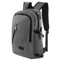 China Water Resistant Polyester Laptop Backpack with USB Charging Port and Lock Fits Under 17-Inch Laptop and Notebook, Grey on sale
