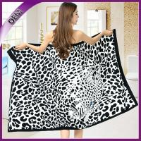 Quality high quality 100% polyester sexy printing leopard bath towel for sale
